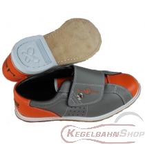 Bowlingschuh Leihschuh mit Klettverschluss Orange/grau